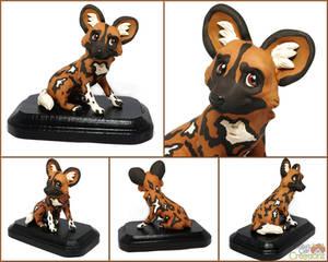 African Wild Dog Sculpture