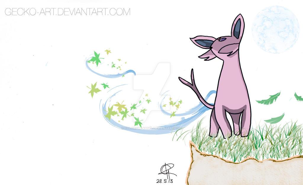 Espeon enjoying the breeze. by Colorful-Kaiya