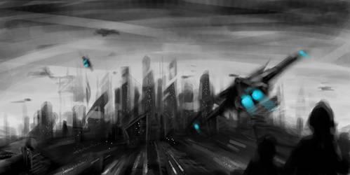 speedpaint - sci-fi city by Stoupa