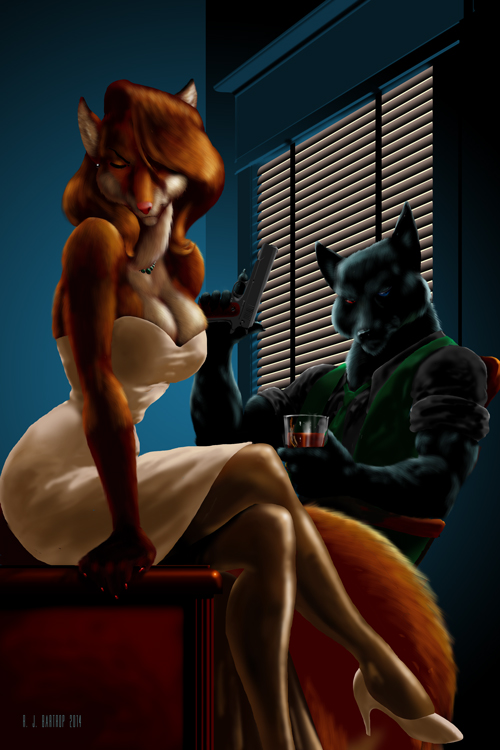 Noir themed YCH - ArcRa and Red by RJBartrop
