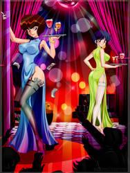 Nabiki and Akane working in a Nightclub by AndronicusVII
