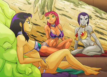 Blackfire meets Starfire and Raven by AndronicusVII