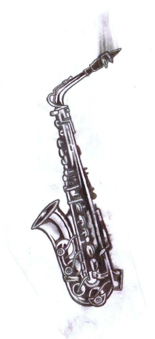 Saxophone tattoo model by somniphorius on deviantart - Saxophone dessin ...