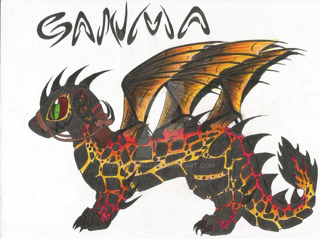 Ganma, the 6 Winged Lava Dragon by Kida-Okami