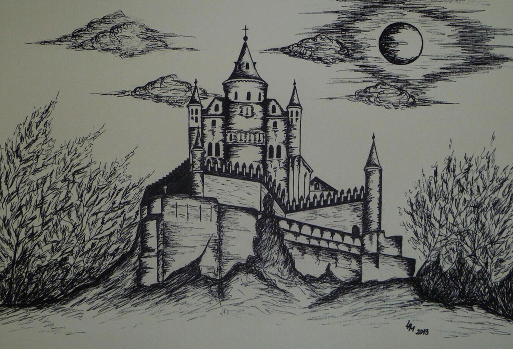castle ink drawing by alexandradart