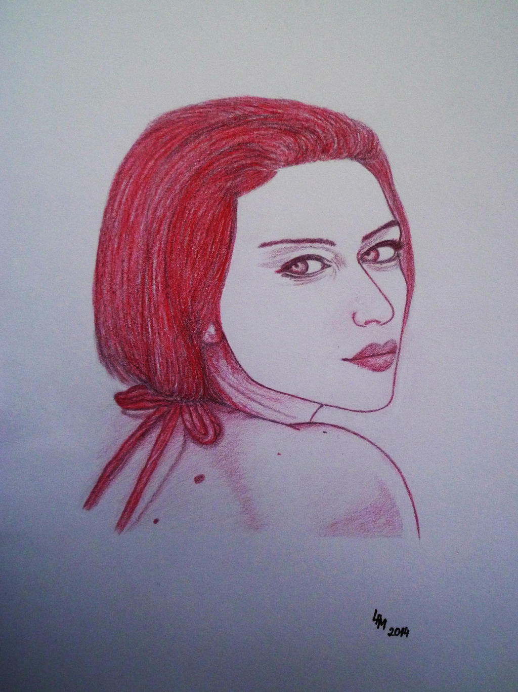 Portrait (red pencil) by AlexandraDart