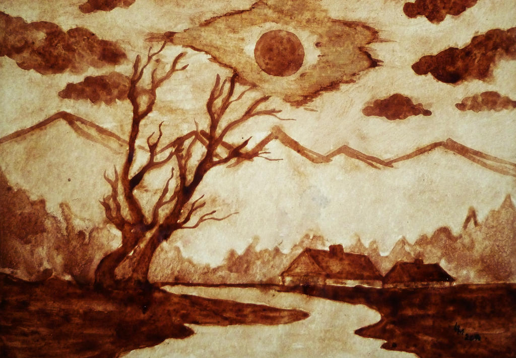 Landscape coffee painting by alexandradart on deviantart for Painting with coffee