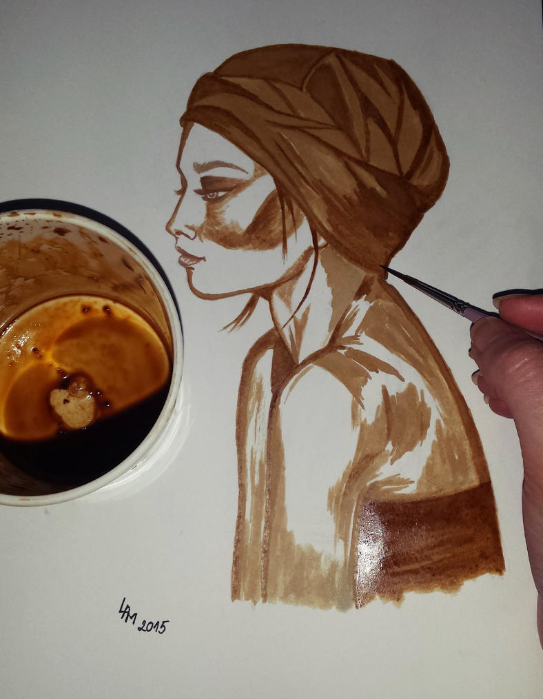Portrait (coffee painting) by AlexandraDart