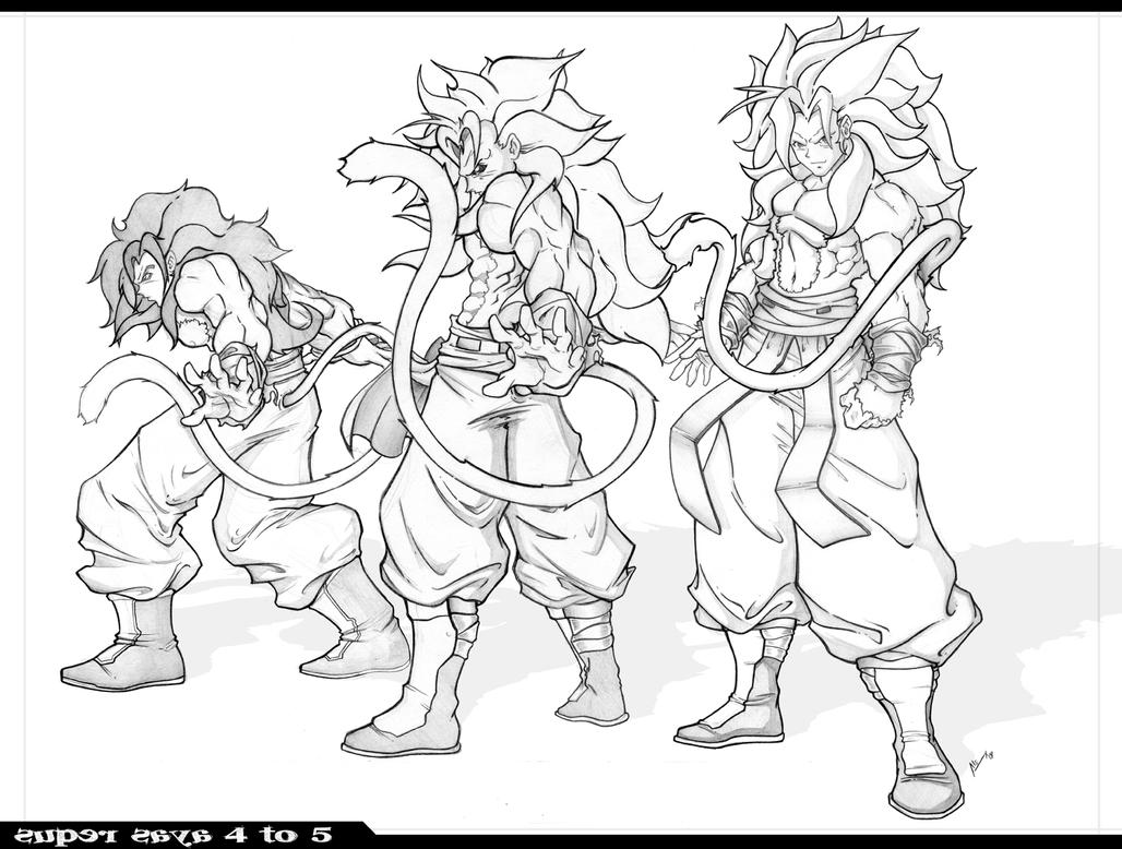 Dibujo De Goku Y Vegeta Para Imprimir Y Colorear: Super Saya 4 To 5 Level By Alexss On DeviantArt