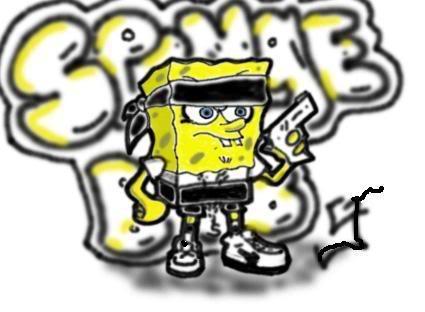spongebob gangster with gun by roshua666
