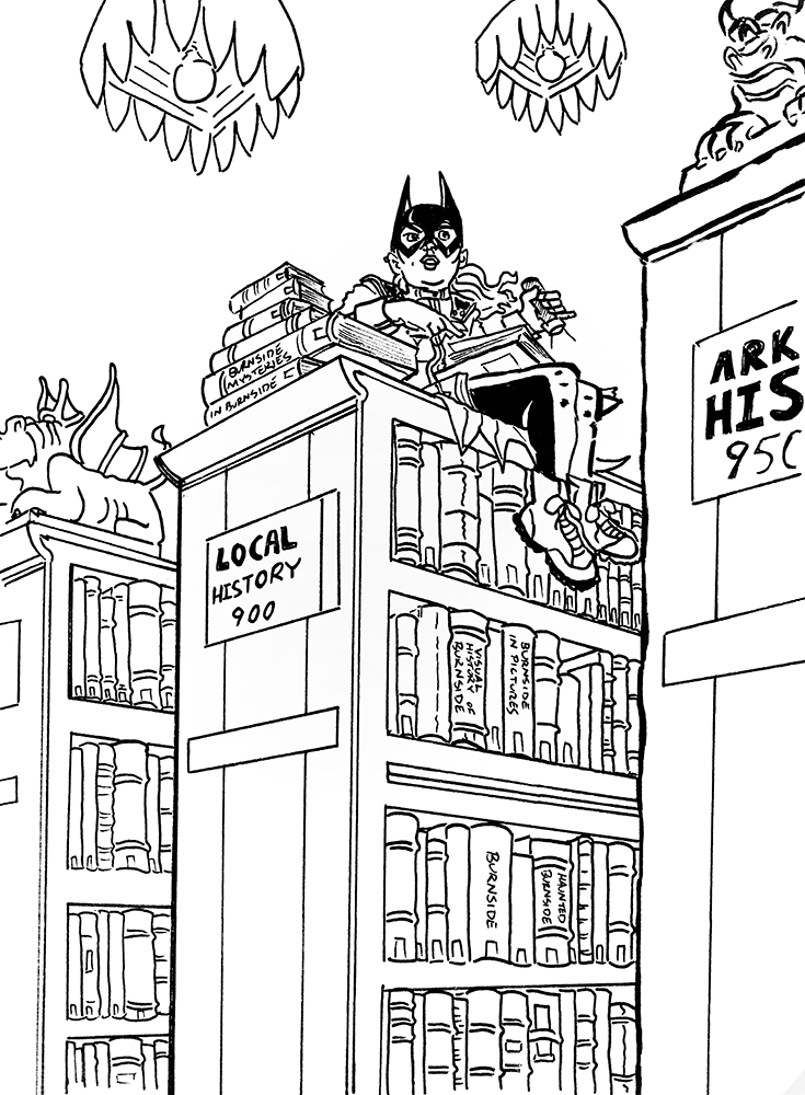 Batgirl in the Burnside library by AndyMichaelArt