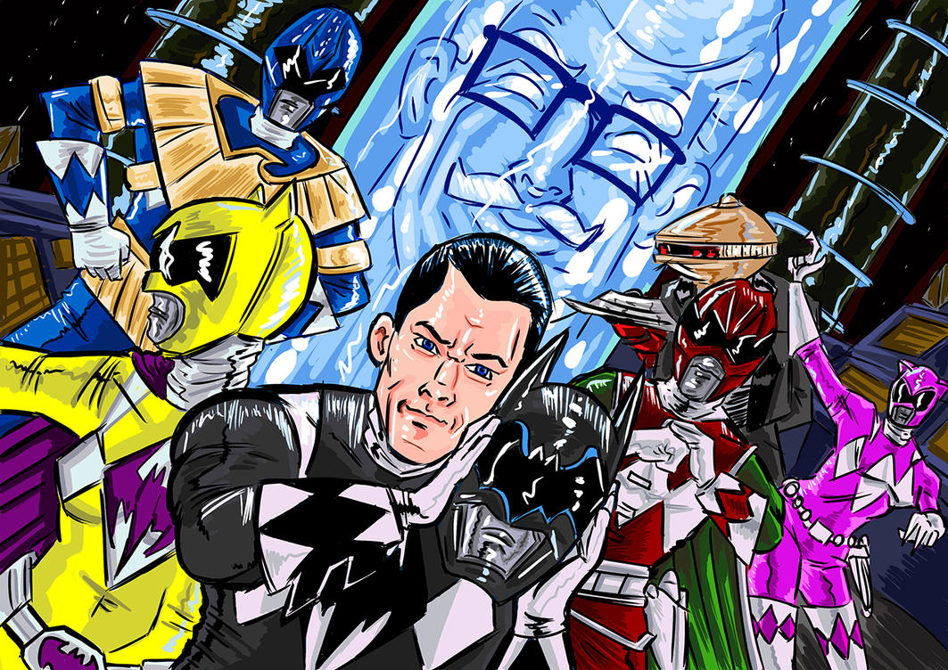 The Line is Drawn - Batman and Power Rangers by AndyMichaelArt