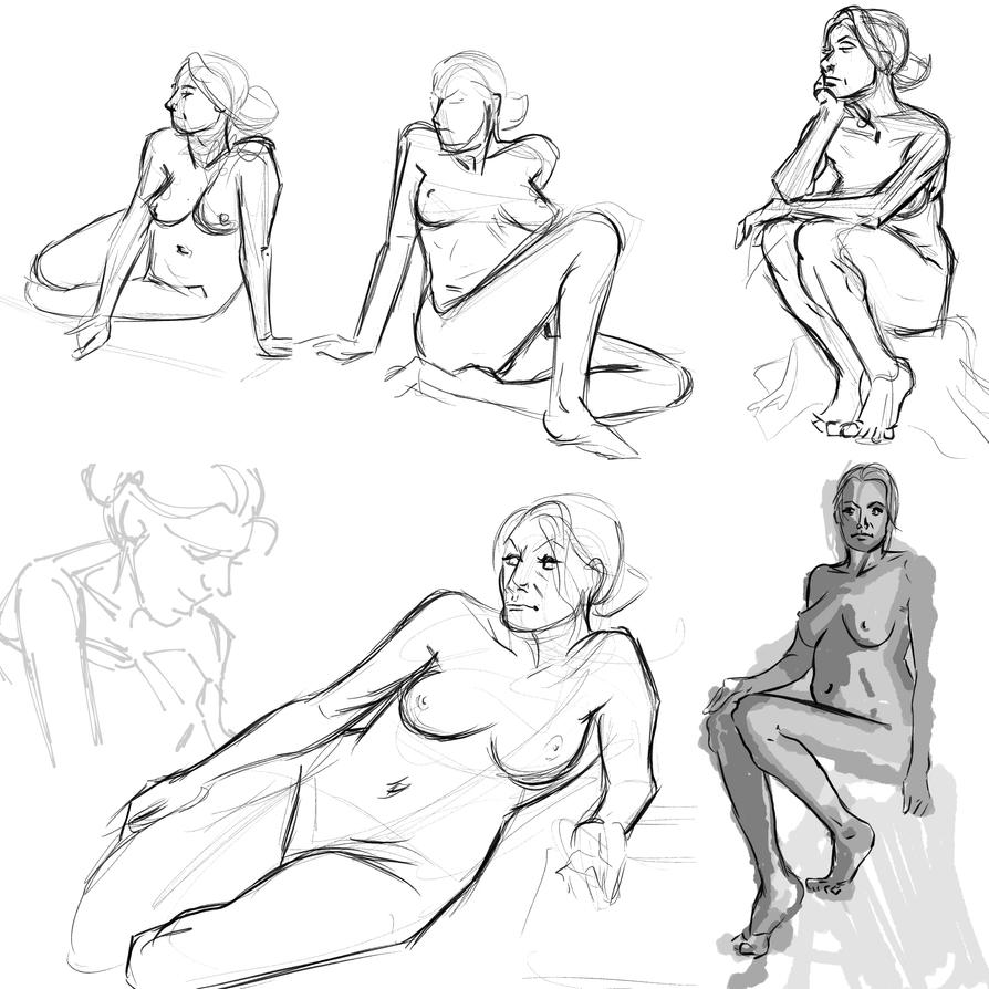 Live Nude Model drawings 2015 01 06 by AndyMichaelArt