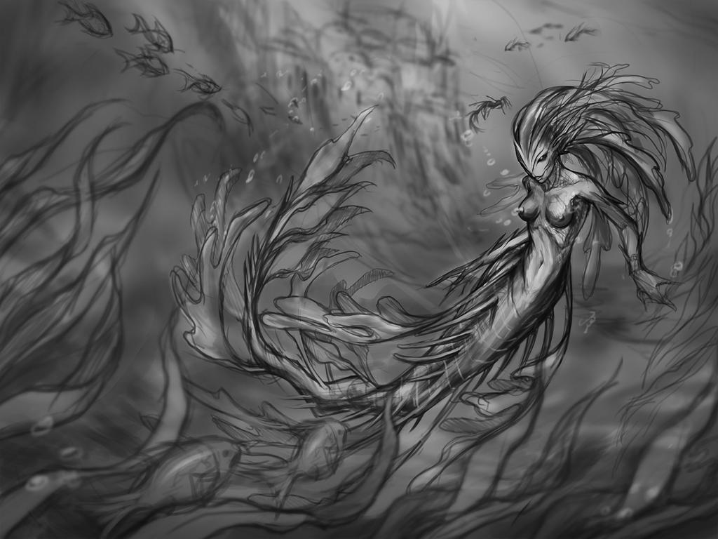 Underwater Dryad commission sketch by eldridgeque