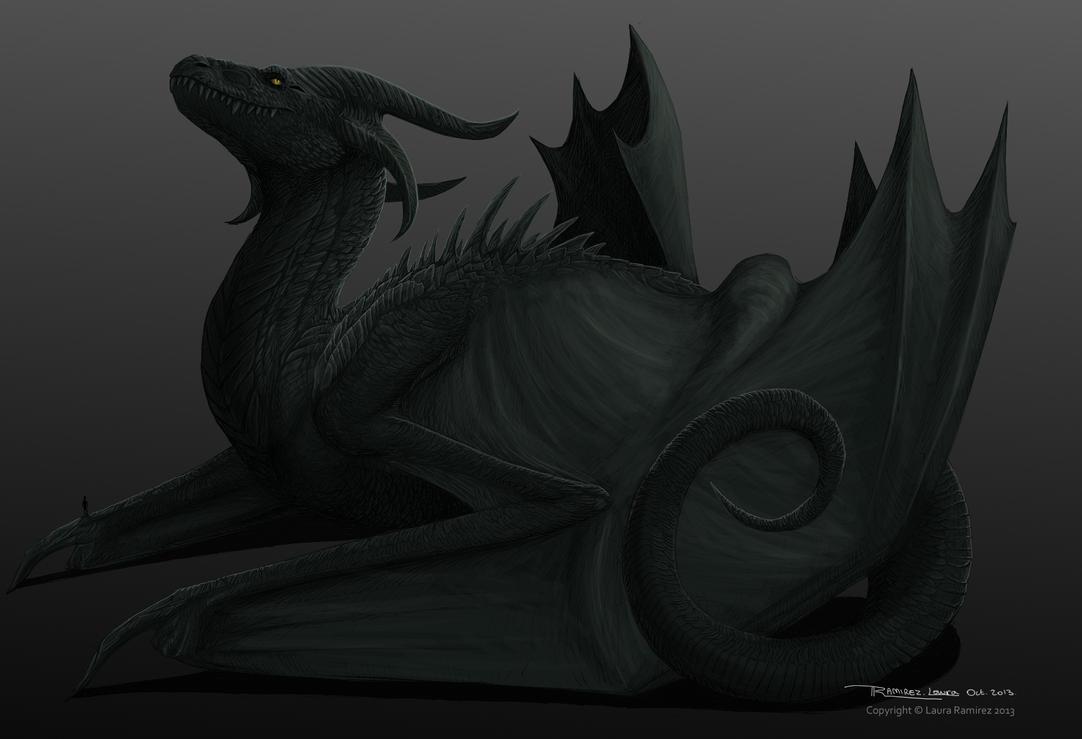 Massive black dragon (colored) by LauraRamirez