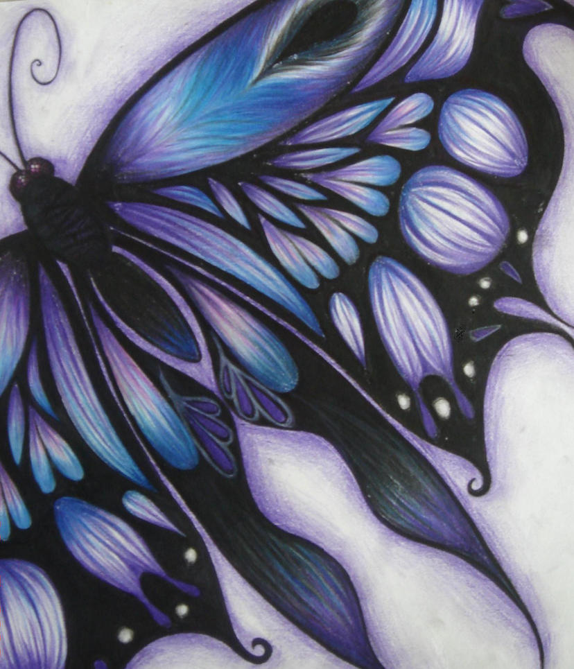 Purple butterfly by kath wang on deviantart for Cool drawings of butterflies