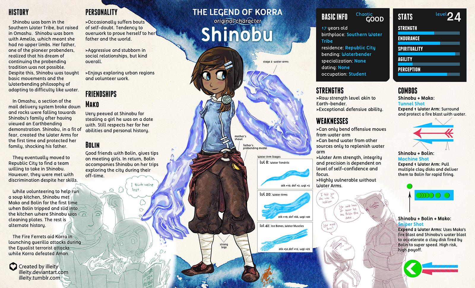 Shinobu: The Armless Waterbender by illeity