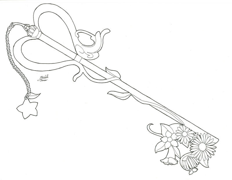 Kairi 39 s key blade line art by yueasazuki on deviantart for Key coloring page