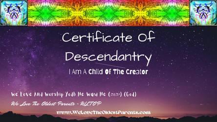 Certificate Of Yodh He Waw He Descendant Desktop