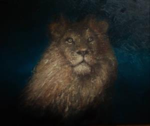 Lion Oil painting in progress by J.L. Blaylock by blaylockart