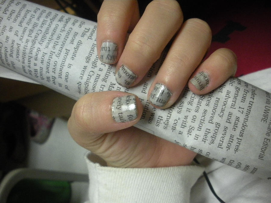 Newspaper nails by NailBiter6652 on DeviantArt