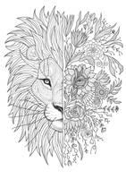 Lion Head Tattoo Sketch by ohhn