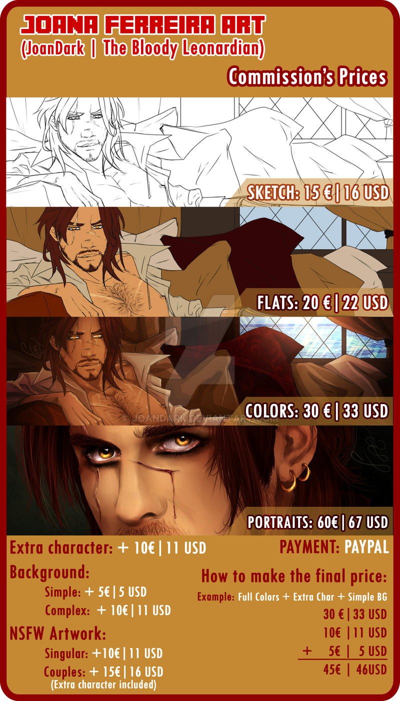 .: Commissions Prices Sheet 2015 :. by JoanDark