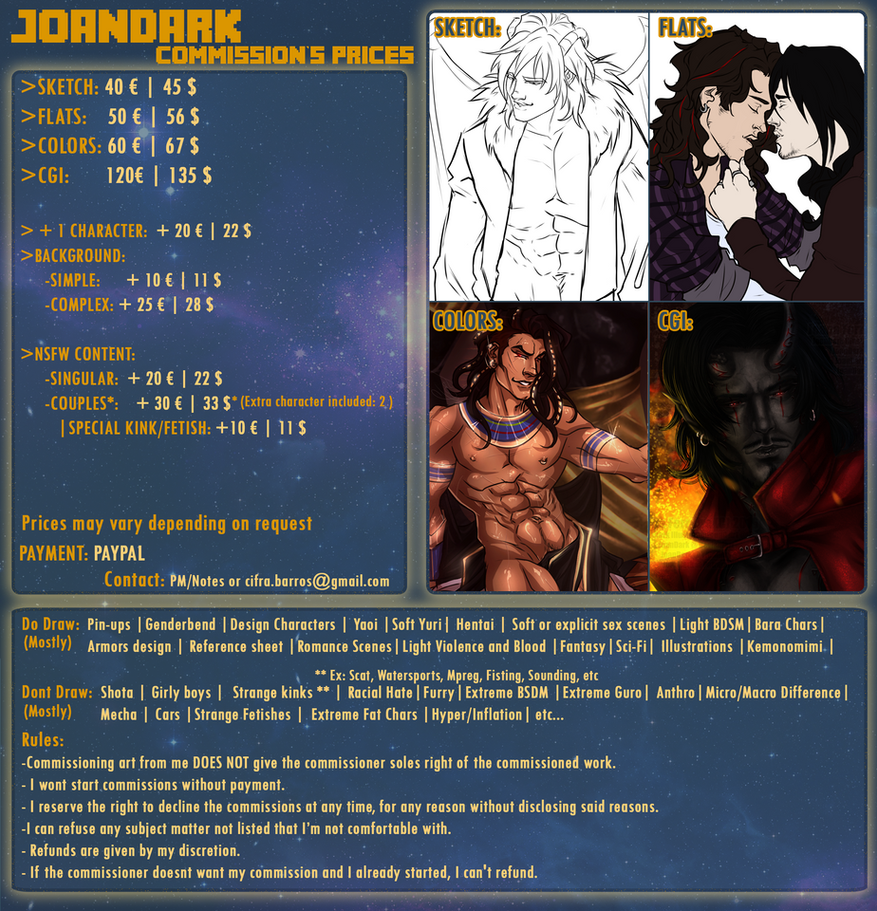 .: Commission Prices Sheet UPDATE :. by JoanDark
