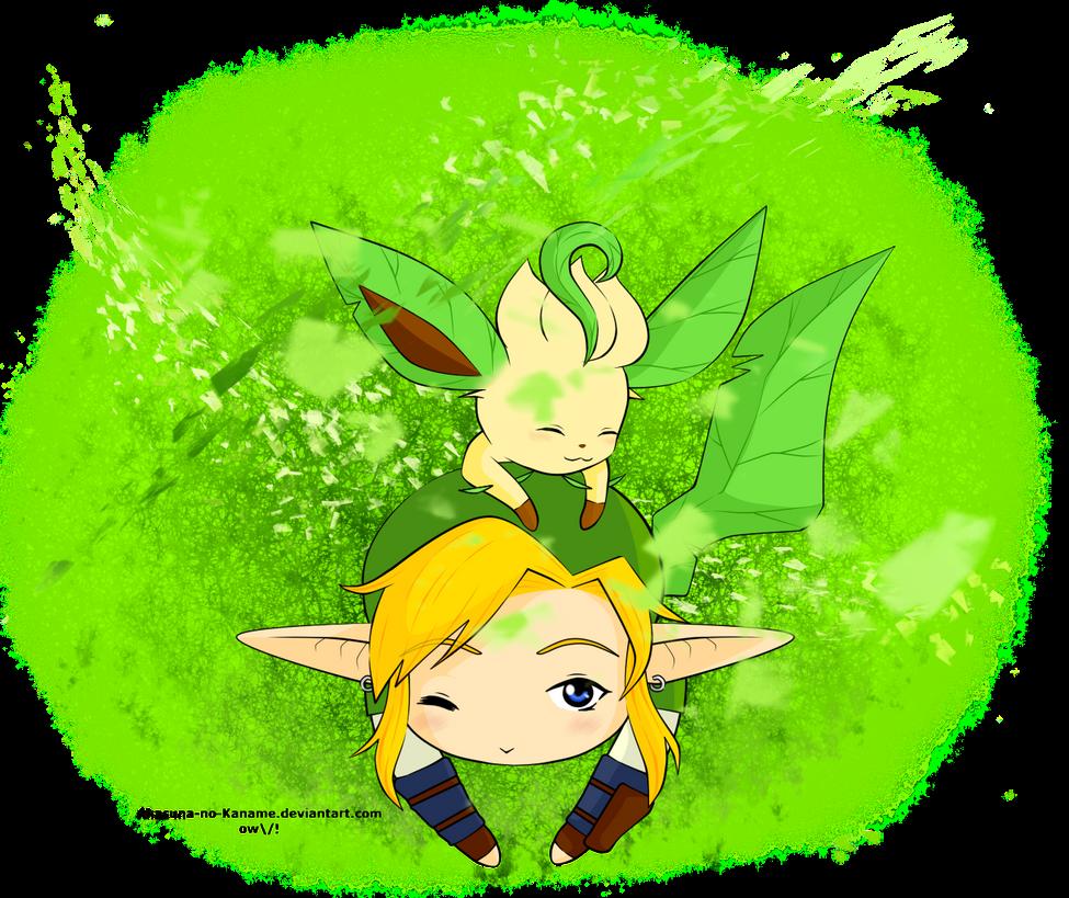 Link+Leafeon! by Akasuna-no-Kaname