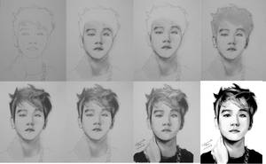 EXO Baekhyun drawing steps by CassPoon
