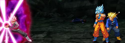 SSR Black vs SSB Goku and SSJ Trunks