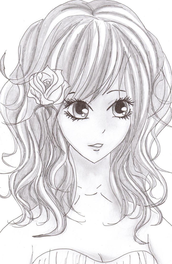 how to draw anime girl with curly hair