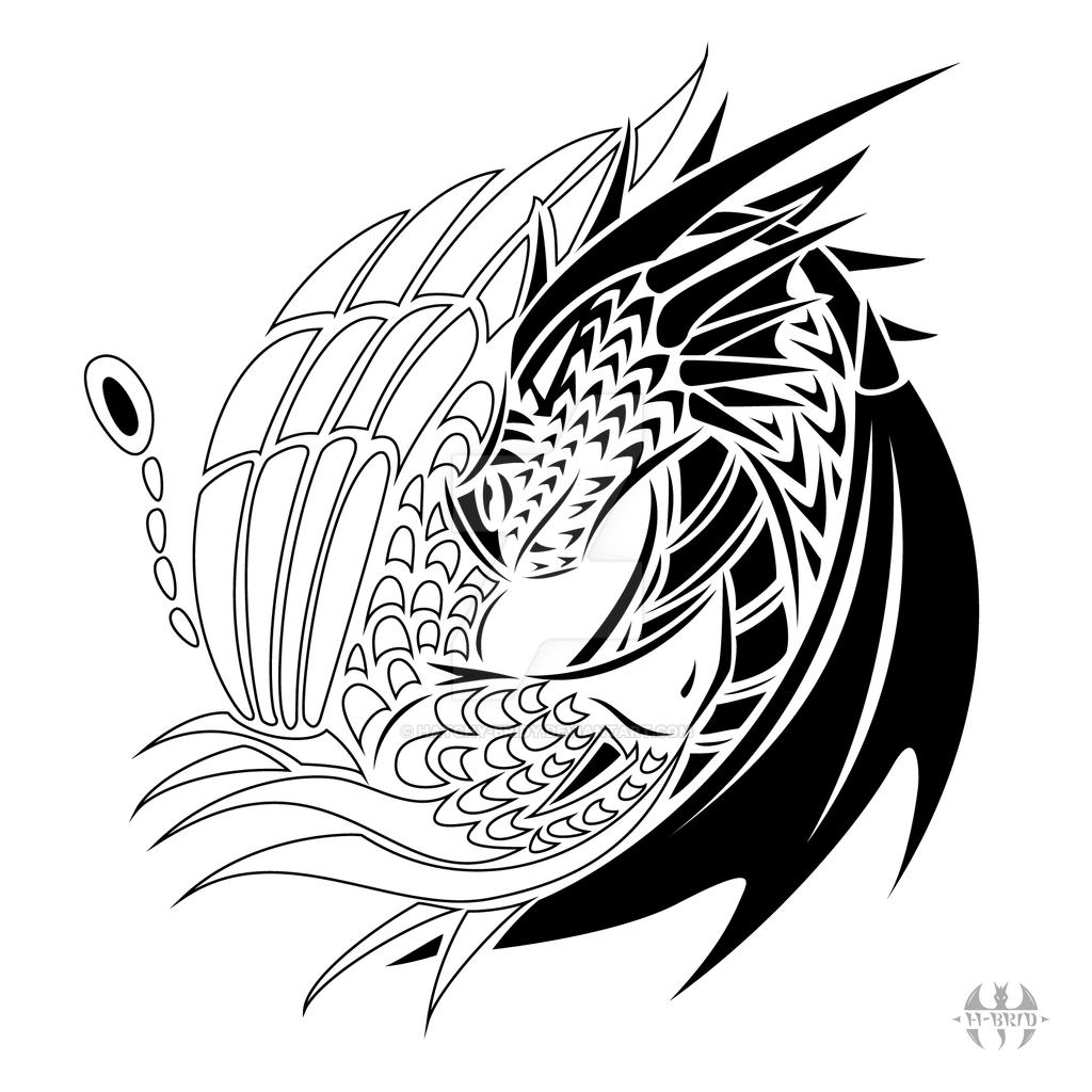 Tattoo design yin yang dragon phoenix by h brid on deviantart for Yin yang tattoo ideas