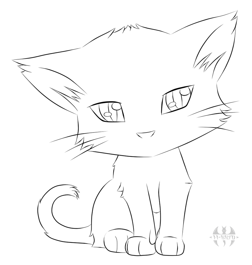 Simple Cat Lineart : Cute kitty lineart by hatchy bridy on deviantart