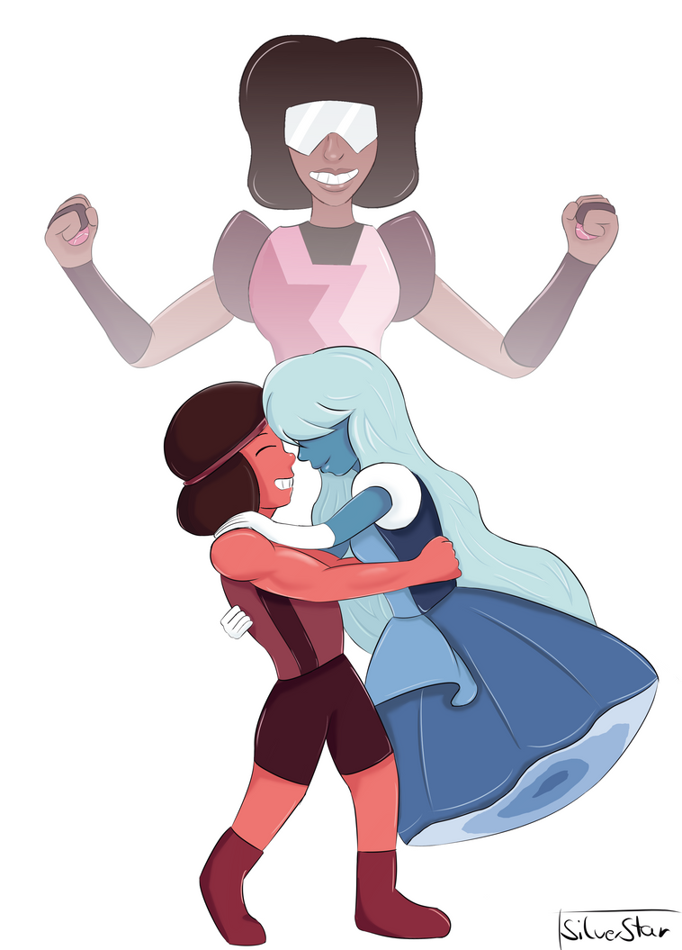 Ruby and Sapphire are definitely my favorite couple in SU. I wouldn't say they're my favorite characters but I just love them together. I'm also not quite sure who's my favorite at the moment anywa...