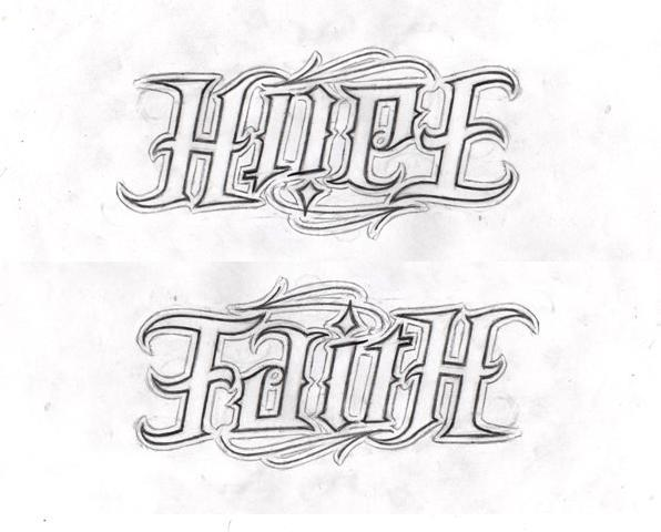 Hope faith ambigram by lowlife619 on deviantart for Tattoos that say something different upside down