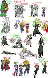 Avengers Sketch Dump by Squidbiscuit