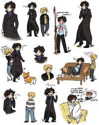 Sherlock doodles by Squidbiscuit