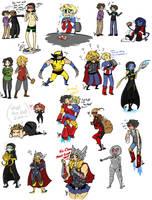 Marvel Sketch Dump 7 by Squidbiscuit