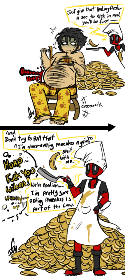 Breakfast with Deadpool by Squidbiscuit