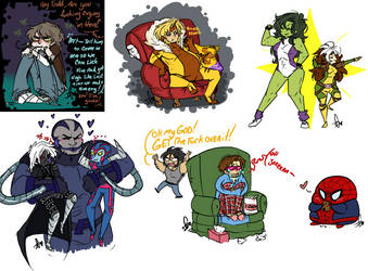 Mini Marvel Sketch Dump 6 by Squidbiscuit