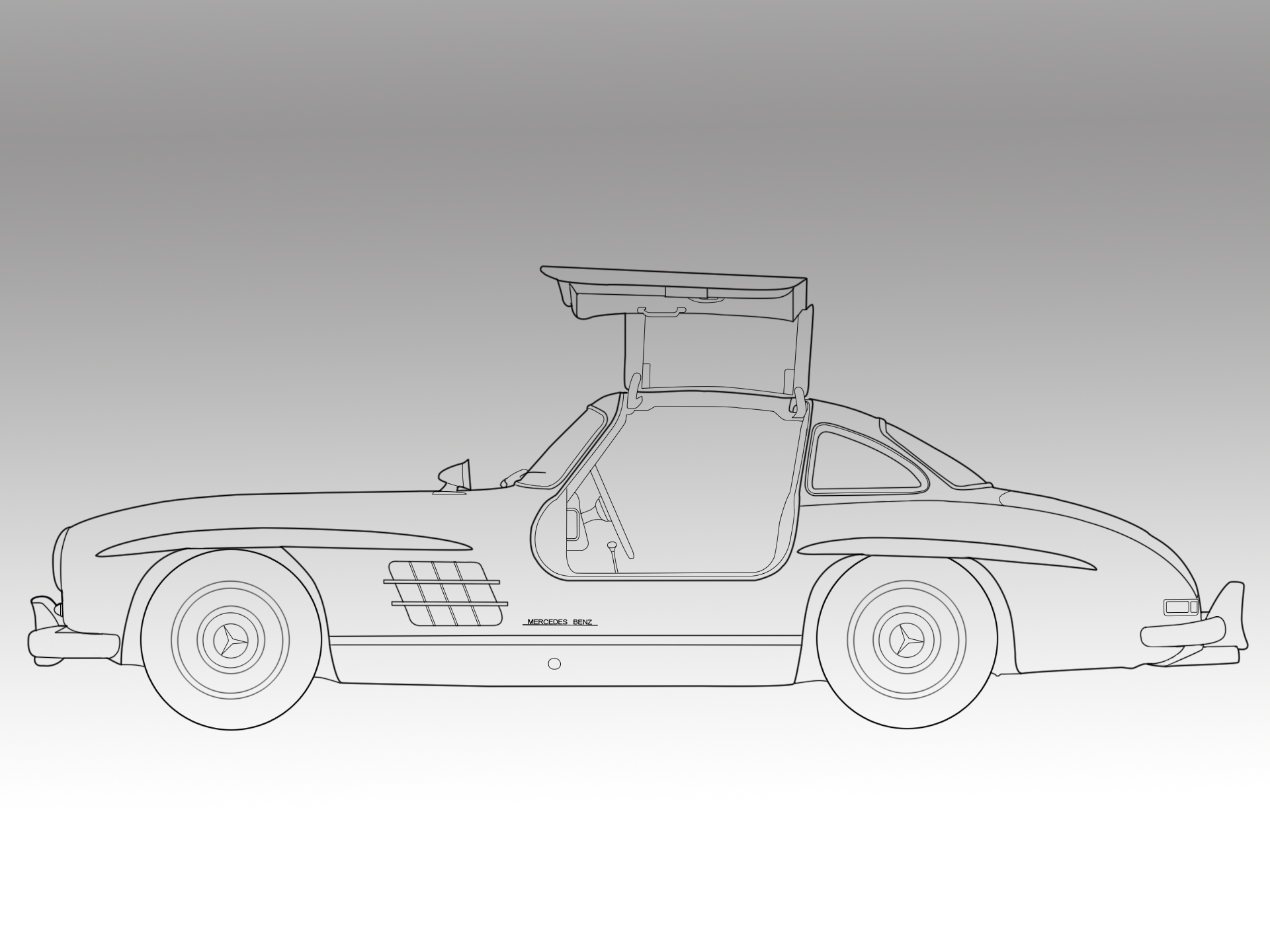 mercedes benz 300sl gullw 1955 by art3h