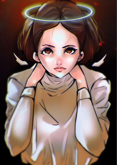 Became and Angel - RIP Princess Leia by watermelonkid