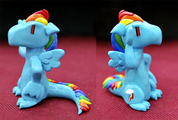 Rainbow Dash clay dragon by HowManyDragons