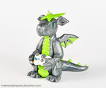 Silver and Green Xbox Dragon