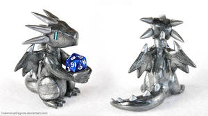 Commission: Spiny Silver D20 Dragon