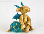 Laid-back Gold D20 Dice Dragon