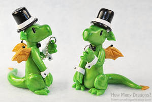 Commission: Light Green Dapper Dragon by HowManyDragons