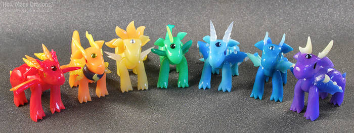 Rainbow Elemental Dragons