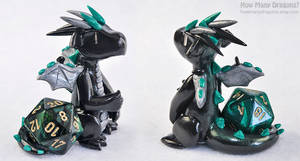 Black, Silver and Green d20 Dragon by HowManyDragons